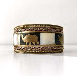 Vintage Brass Elephant & Shell Inlay Bracelet
